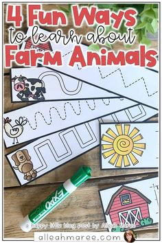 Learning about farm animals with your preschooler, toddler, or kindergartener? Click the pin to read about 4 simple ideas to teach about them, including books, songs and hands-on activities!