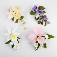 4 Large Mix Sprays are gumpaste sugarflower cake decorations perfect as cake toppers for cake decorating fondant cakes and wedding cakes. | CaljavaOnline.com