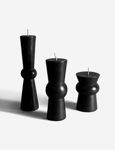 Wren Pillar Candle, Black