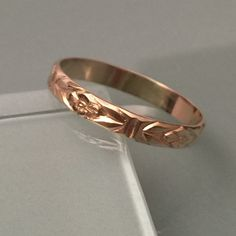 Vintage style flowery band ring Real 14k band ring. All size available. Jewelry Rings