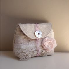 Antique linen pouch pale pink linen rose2 | for information … | Flickr