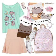 """#PVxPusheen"" by pianogirlzoe ❤ liked on Polyvore featuring Miu Miu, Pusheen, Converse, BackToSchool, contestentry, bts2016 and PVxPusheen"