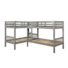 Shop for Furniture of America Jis Modern Twin Solid Wood L-shaped Bunk Bed. Get free delivery On EVERYTHING* Overstock - Your Online Furniture Outlet Store! Bunk Bed With Trundle, Twin Bunk Beds, Kids Bunk Beds, Twin Twin, Triple Bed, Triple Bunk Beds, L Shaped Bunk Beds, Bunk Rooms, Bedrooms