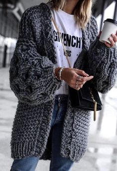 15 Ways To Wear An Oversized Knit Cardigan This Spring. Chunky Cardigan  OutfitKnit Sweater ... d78d5542f