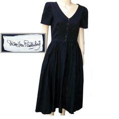 80s DVF dress black cotton short sleeve full skirt by pinehaven2, $45.00