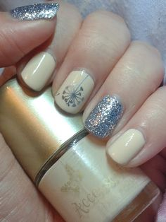 Geordie Nails. Nails Inc: Maida Vale, Accessorize: Ivory Lace. Nailz Craze plate with Essies Blue Rhapsody