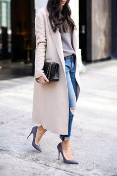 It's all about the coat. And the shoes..