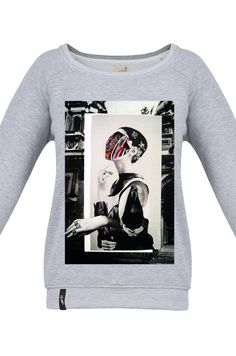 MATRYOSHKA MRS MASK  Very feminine sweatshirt made of high quality fabric in gray. Beautifully finished, with a fashionable cut, specially designed with comfort in mind. Composition: 95% cotton, 5% polyester. Durable print, made digitally. Graphic created specifically for Meet The Llama by an extremely talented, Polish collage artist, Moni Wilk. The series of prints from Moni is characterized by a climate of dreams. #meetthellama #sweatshirt #matryoshka #mrsmask #graphic #pyjama