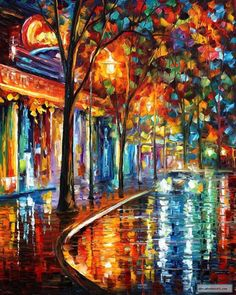 NIGHT CAFE - Palette knife Oil Painting on Canvas by Leonid Afremov
