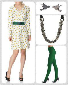 Iben kjolen er uden tvivl en af mine personlige favoritter. Jeg har den hængende i mit skab i flere forskellige farver og mønstre. Forårets udgave er smuk med hvide blomster. Giv den et skud farve med et grønt Waist elastikbælte, grønne strømper fra Oroblu og lidt bling bling om halsen.
