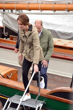 Catherine, Duchess of Cambridge and Prince William, Duke of Cambridge disembark the tall ship Pacific Grace in Victoria Harbour on the final day of their Royal Tour of Canada on October 1, 2016 in Victoria, Canada.