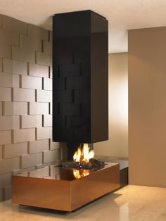Decorating, Hot See Through Gas Fireplace Designs Furniture Interior Great Modern Style Black Gold Wall Ideas On Shining Marble Floor Space ...