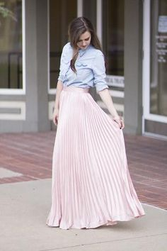 Pink Pleated Maxi Skirt - Crystalline