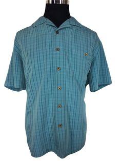 Island Shores Mens XL Hawaiian Tropical Casual Shirt Turquoise Blue Short Sleeve #IslandShores #Hawaiian