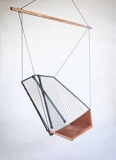 Leather and Steel Made Suspended Chair,  Les Ateliers Guyon