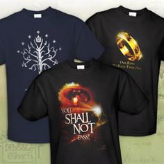 Lord of the Rings Cotton T-Shirt - Assorted Styles. I want them all.