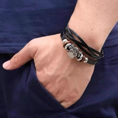 Men's Retro Brown Leather Woven Double Skull Rivet Bracelet #bracelets #skullbracelet #skulljewelry Skull Bracelet, Skull Jewelry, Leather Weaving, Bracelets For Men, Brown Leather, Type, Retro, Accessories, Collection