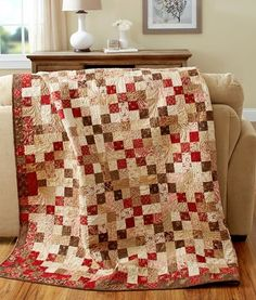 American Patchwork & Quilting August 2014 | AllPeopleQuilt.com Chocolate and Cherries by Tammy Vonderschmitt using Collection for a Cause - Mill Book Series Circa 1852 fabric.