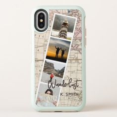 Photo Collage of Travel Memories. Wanderlust. OtterBox Symmetry iPhone X Case - monogram gifts unique design style monogrammed diy cyo customize