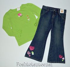 Gymboree Lovable Giraffe Embroidered Hearts Top Sequin Jeans Set 7 6 NWT sl1-3 #Gymboree