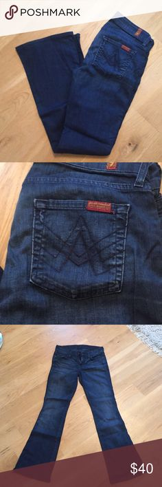 7 For All Mankind jeans! Size 24. Great condition!  Dark wash 7 For All Mankind flared jeans! Very lightly worn. Amazing condition. Size 24. Flare is coming back!  7 For All Mankind Jeans