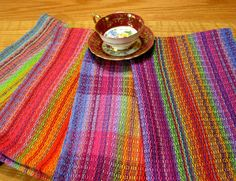 Gorgeous, brightly colored hand woven tea towel, kitchen towel, dish towel in cotton (10805). $32.00, via Etsy.