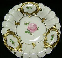 German Porcelain Cabinet Plate Meissen Gold Gilt Hand Painted Rose..