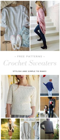 Crochet Sweater free patterns - Womens Clothing - Peanut & Plum A guide of 12 of the most stylish and easy free women's sweater crochet patterns. #crochet #crochetpatternsfree #crochetsweater #womensclothing