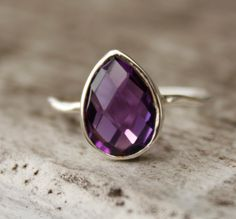 Silver Purple Amethyst Teardrop Ring  Hammered Ring  by OhKuol, $57.00