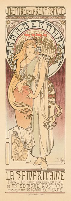 Alphonse Mucha, La Samaritaine, May 1899, Original lithograph printed in colors on wove paper, 14 11/16 x 5 3/8 inches. Price available upon request, Sarah White, Fine Art Consultant sarahwhite@clarkfineart.com