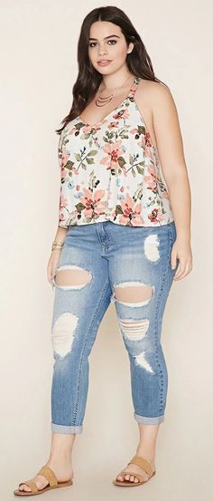 Plus Size Floral Lace-Up Top