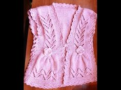 How to Knit Integrated Vandyke Lace Vest with flowers on the front and crochet edging One piece - YouTube
