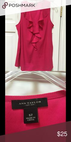 Ann Taylor silk blouse Great blouse with beautiful ruffle accent.  Color is beautiful for fall Ann Taylor Tops Blouses