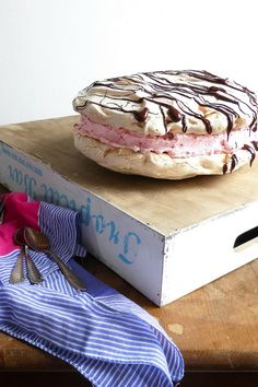 Meringue Sandwich filled with Raspberry Whipped Cream