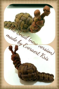 Paracord Snail #550paracord #550cord #paracord #parachutecord #paracordial #cord #cordage #toy #snail #creature #animal #kids #knots #DIY #crafting #weave #knot #woven #craft #knotting #knotwork #rope #twine #survival #design #project