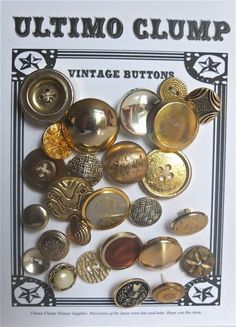 26 Vintage Gold Buttons