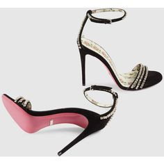 191b85cc98d607 Gucci Suede Sandal With Crystals ( 1
