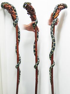 These are some of the walking sticks that I have carved from a single piece of wood. Cool Walking Canes, Walking Sticks And Canes, Hand Carved Walking Sticks, Wooden Walking Sticks, Love Stick, Wood Sculpture, Wands, Hula, Original Paintings