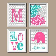 Girl Elephant Nursery Wall Art Pink Turquoise Nursery by TRMdesign
