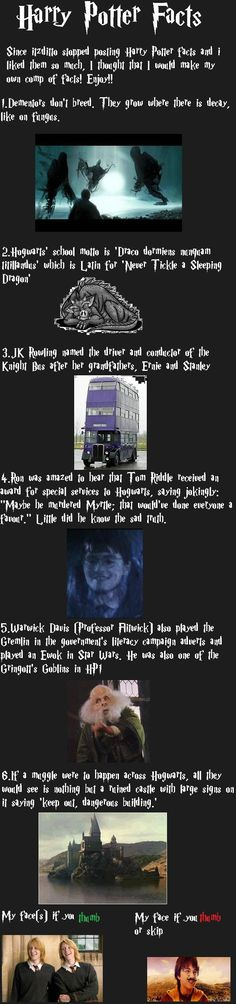 Harry Potter Facts Part 1 - Kinda hard to read though with the font.
