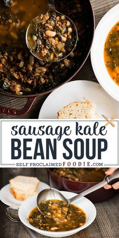 Kale Soup with Italian Pork and White Beans is a hearty and healthy meal that is quick enough to serve as an easy weeknight dinner. This is a homemade soup that is cooked quick and easy on the stove top. #soup #sausage #bean #kale #recipe #easy #dinner Healthy Soup Recipes, Healthy Dinner Recipes, Chili Recipes, Delicious Recipes, Vegan Recipes, Tasty, Favorite Chili Recipe, Favorite Recipes, Healthy Comfort Food