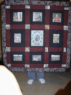 memory quilt with photos. For inquiries contact Roxanne at r_treasures@hotmail.com