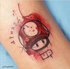 Badass Tattoos, Cool Tattoos, Super Mario, Mario Tattoo, Mushroom Tattoos, Trash Polka Tattoo, Pokemon Tattoo, Gaming Tattoo, Tattoos For Kids