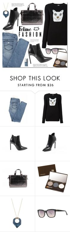 """""""Feline Fashion"""" by mada-malureanu ❤ liked on Polyvore featuring Armani Junior, Loewe, Yves Saint Laurent, Louise Young Cosmetics, Alexis Bittar, Roberto Cavalli, Christian Dior, catstyle and lookshop"""