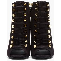 GIUSEPPE ZANOTTI Matte Black Leather Gold-Studded Alien Boots (935 CAD) ❤ liked on Polyvore featuring shoes, boots, ankle booties, heels, sapatos, booties, high heel booties, black leather ankle booties, black heeled boots and high heel stilettos