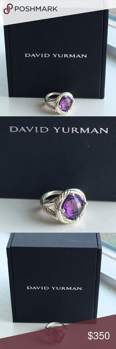 David Yurman 14K gold Purple Amethyst Round Cabochon Pendant Cable