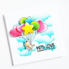 Stamps: Balloon Bunch, Says It All / Stencils: Cloudy Day Round Balloons, Heart Balloons, Cloudy Day, Clear Stamps, You And I, Stencils, Backdrops, Halloween, My Love