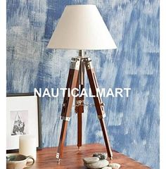 NAUTICAL NICKEL FINISH TRIPOD TABLE LAMP. Tripod Table Lamp, Nickel Finish, Light Decorations, Lamp Light, Floor Lamps, Lighting, Nautical, Design, Home Decor