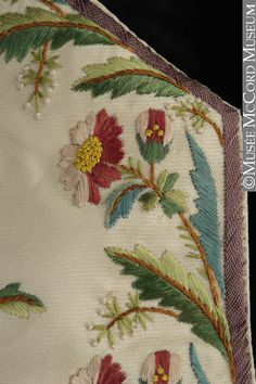 Detail embroidery, waistcoat, 1790-1799. Ivory silk twill with multicoloured floral embroidery; cotton back.