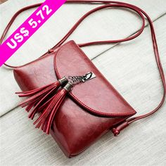 Women Oil Wax Leather Covered Double Tassel One Shoulder Mobile Phone Bag Purse Purse,Leather,Shoudler Leather Cover, Luggage Bags, Leather Purses, Purses And Bags, Chloe, Tassels, Wax, One Shoulder, Shopping